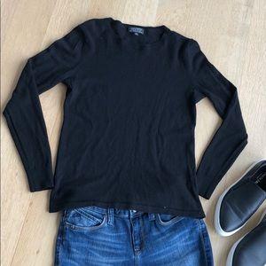 Lord & Taylor Black Extra Fine Merino Wool Sweater